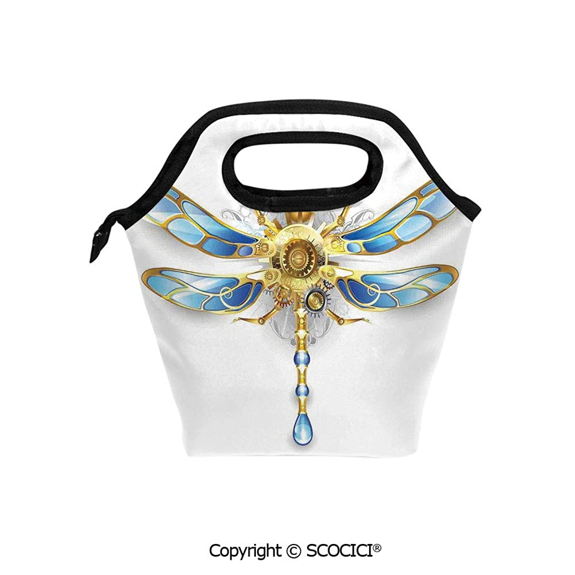 Reusable Insulated Lunch Bags with Pocket Close Up View of Mechanical Dragonfly with Multifaceted Eyes and Gears Body Print for Adults Kids Boys Girls. wkdeafb154372