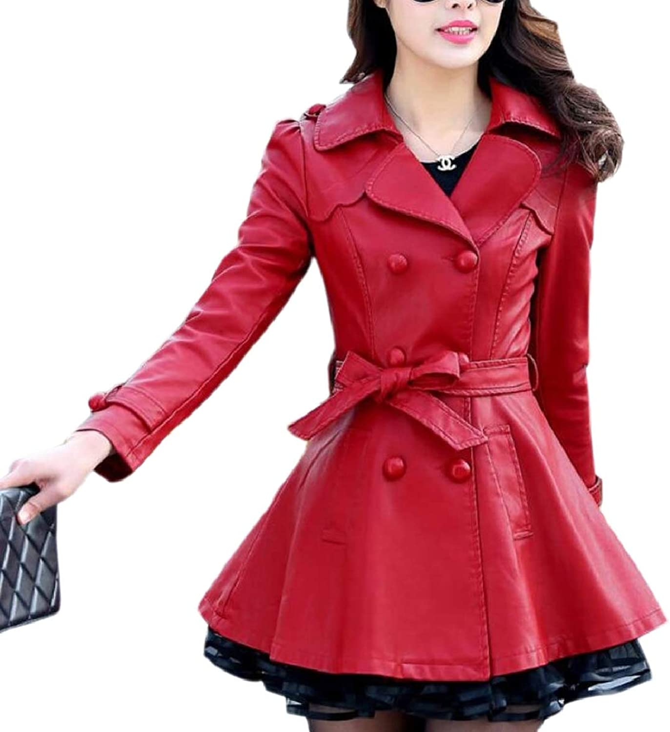 SmeilingCA Women Double Breasted Trench Dress Coat Retro PU Leather Lapel Overcoat