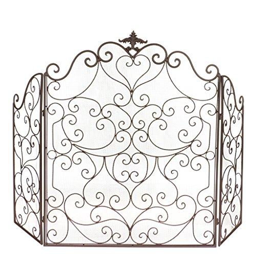 País de Farmhouse tradicional diseño de tela de 3Fold hierro fundido Firescreen–un maravilloso 6th aniversario regalos de boda–H 80x W 115cm