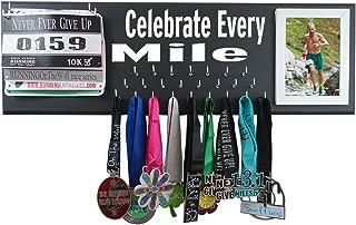 RunningontheWall Medal Hanger Medal Display Rack and Race Bibs Celebrate Every Mile Picture Frame Running Bib Design