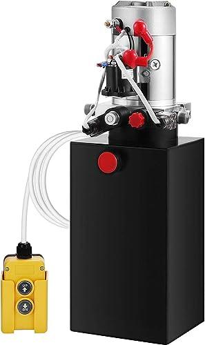 Mophorn Hydraulic Pump 6 Quart Hydraulic Power Unit 12V DC Hydraulic Pump Dump Trailer Double Acting Hydraulic Pump (...