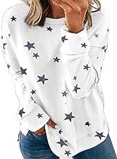 Asvivid Women Casual Round Neck Long Sleeve Blouse Shirts Tops Star Printed Pullover Sweatshirt