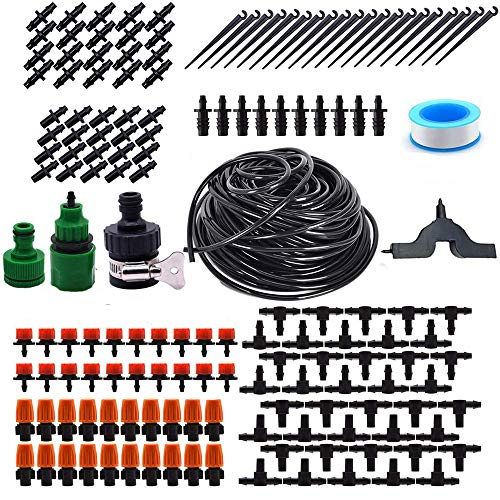 Fastwolf Garden Irrigation System1/4quot Blank Distribution Tubing Watering DripDIY Saving Water Automatic Drip Irrigation Equipment Set with Adjustable Dripper Sprinkler for GardenGreenhouseLawn