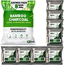 VZee Odor Eliminator for Strong Odor, 8 Pack x 200g, 8 Ropes. Activated Bamboo Charcoal Air Purifying Bag Odor Absorber for Room, Cats, Dogs, Pet Urine and Musty Basement Smell