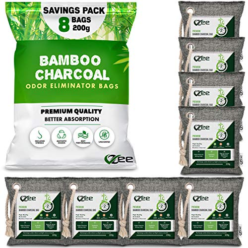 VZee Nature Fresh Charcoal Bags Odor Absorber, 8 Pack x 200g, 8 Cords, Odor Eliminator for Strong Odor, Activated Bamboo Charcoal Air Purifying Bag for Large Area, Odor Remover for Cat, Dogs, Pet, Diaper Pail, Shoes, Home, Car, Smoke, Musty Basement