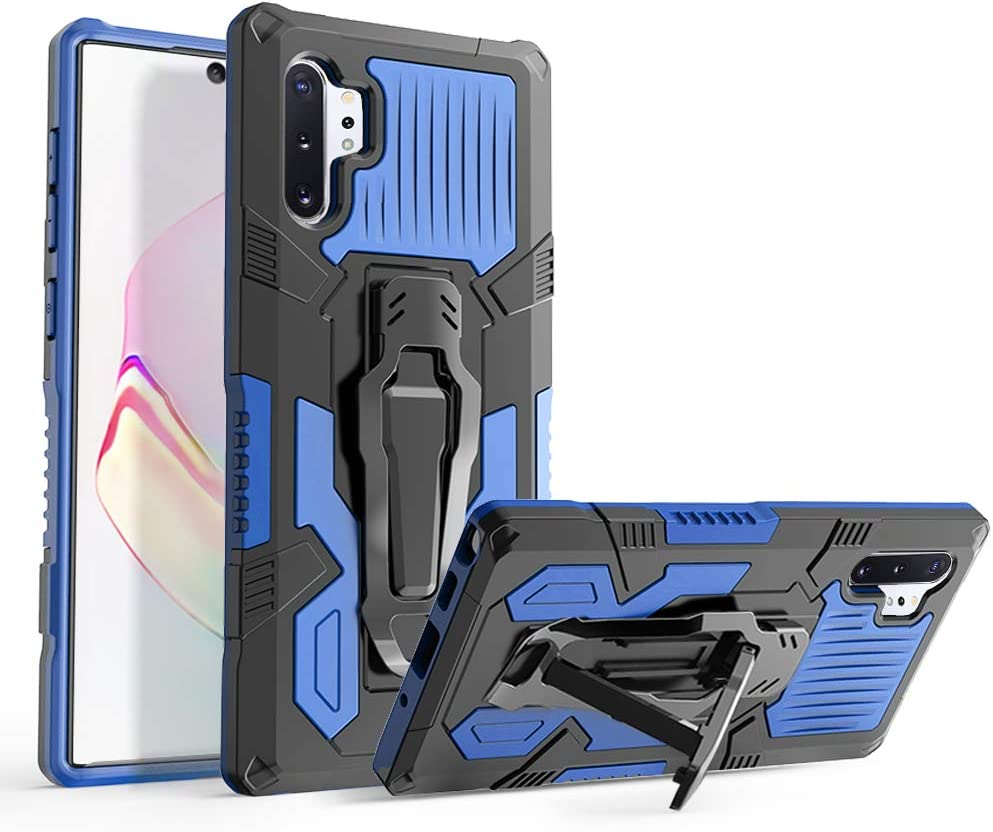 KSELF Case for Samsung Galaxy Note 10 Plus Case, Military Grade Protective Phone Case with Kickstand, Metal Belt Clip, Magnetic Support Heavy Duty Armor Cover for Samsung Note 10 Plus Case (Blue)