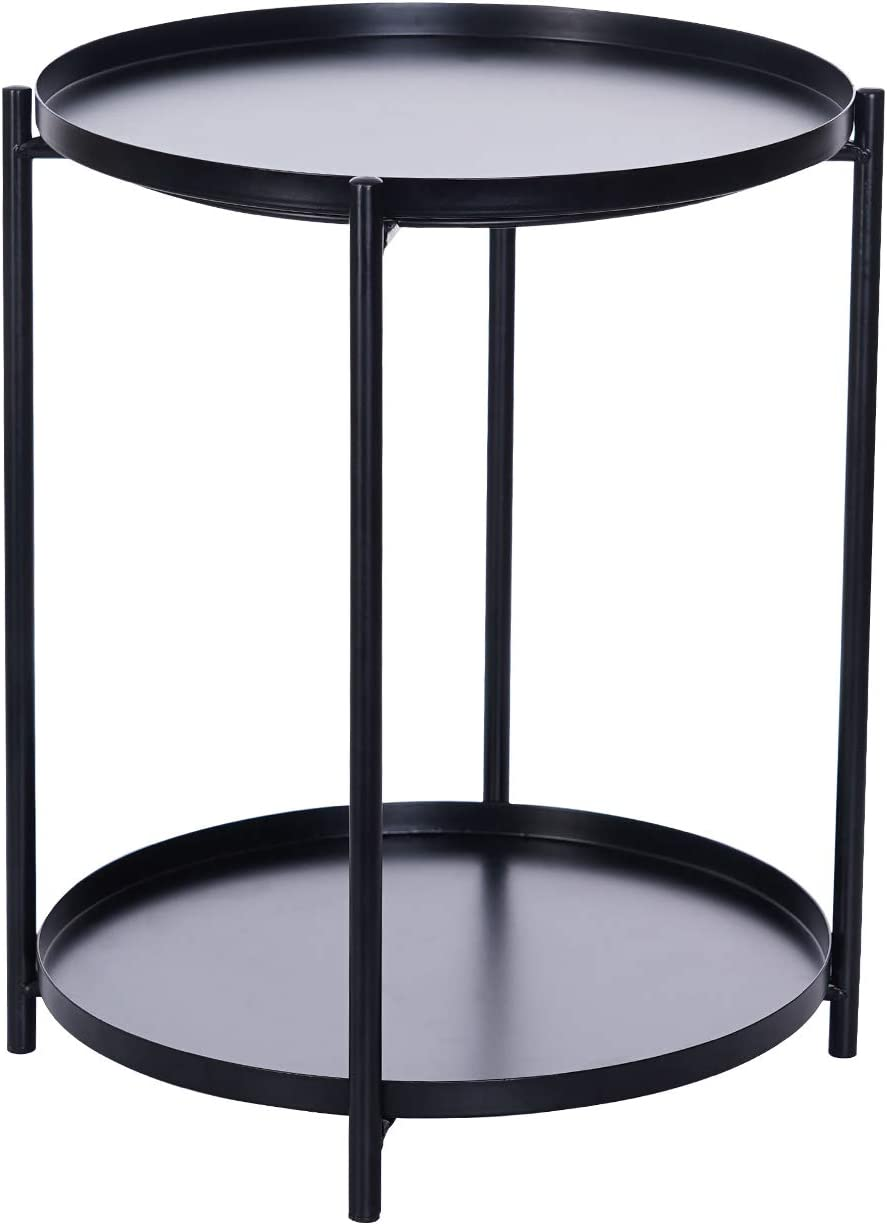 Metal End Table 2 Tier Small with Side Cheap mail order sales Round RemovableTra Superior