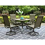 PHI VILLA Patio Dining Set 5 PCs Outdoor Dining Table Set Outdoor Kitchen Garden Furniture with 4 Swivel Chair & 1 Umbrella Dining Table