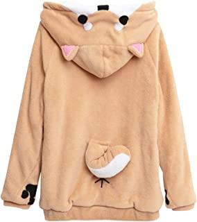 Unisex Anime Cosplay Hoody Cute Corgi Plush Adult Pajamas Coral Velvet Sweatshirt