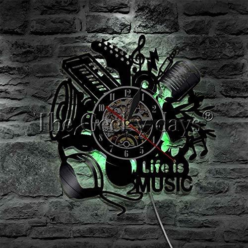 Music Is My Life Música para Rock Fans Home Art Design Vinilo Reloj de inauguración de la casa Regalo de diseño de arte Reloj con luz nocturna LED
