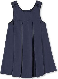 Freebily Girls Pleated Hem School Uniform Dress Jumper with Ribbon Classical Casual