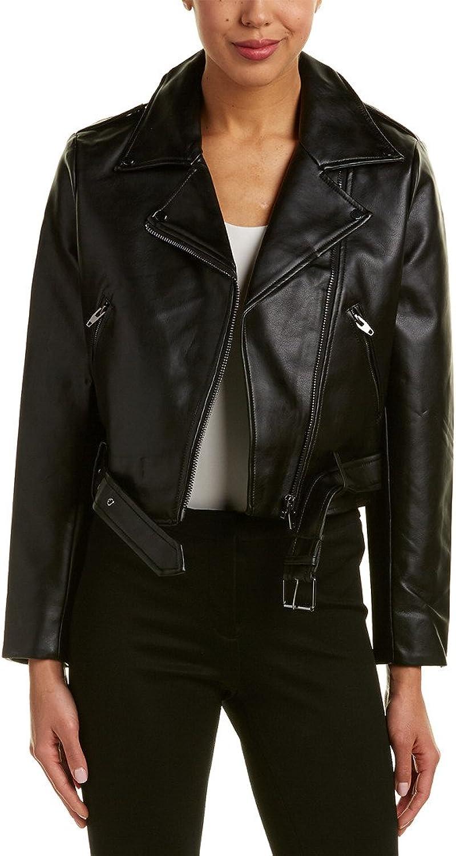 Catherine Malandrino Womens Faux Leather Long Sleeves Motorcycle Jacket