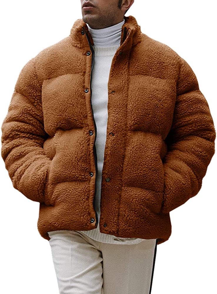 Karlywindow Mens Sherpa Fleece Jackets Fuzzy Winter Warm Thick Coat Quilted Jacket with Pockets