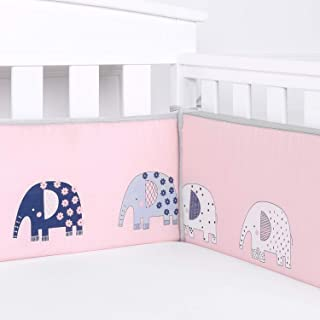 Designthology Baby Breathable 100% Cotton Muslin Crib Bumper Pads for Standard Cribs Machine Washable Padded Crib Liner, Pink Elephant, 4-Pieces