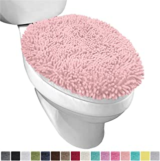 Gorilla Grip Original Shag Chenille Bathroom Toilet Lid Cover, 19.5 x 18.5 Inches Large Size, Machine Washable, Ultra Soft Plush Fabric Covers, Fits Most Size Toilet Lids for Bathroom, Light Pink