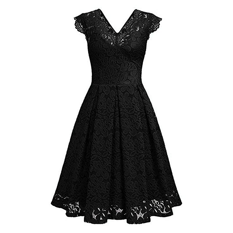 Dress Vintage Red Lace V Neck Runway Dress Elegant Ladies Dresses Summer Clothes for Women,Black,S,United States ihsjyggr325651