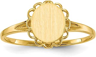 14k Yellow Gold 7.5x6.5mm Signet Band Ring Size 6.00 Fine Jewelry Gifts For Women For Her