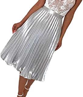 Comaba Women Middle Waist Solid-Colored Fashion Pleated Midi Skirt