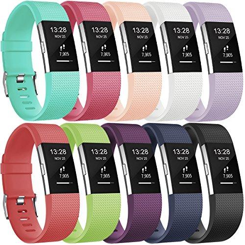 Gogoings Bracelet Compatible pour Fitbit Charge 2 - Bracelet Silicone Bande de Rechange Réglable Souple Sport Compatible avec Fitbit Charge2 pour Femme & Homme (sans Montre)