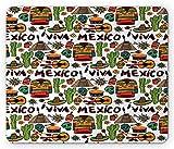 Alfombrilla de ratón de computadora Mexicana, Viva Mexico Native Elements Poncho Tequila Salsa e Imagen de pimientos picantes, Alfombrilla Rectangular de Goma Antideslizante Grande, Tam,20x25cm