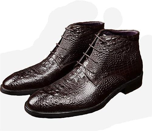 Qiusa Stiefel con patrón de cocodrilo para Hombre Stiefel con Suela Suave de Cuero Genuino Antideslizante (Farbe   braun, tamaño   EU 44)