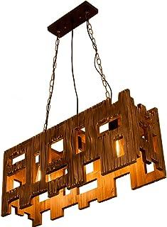 Lámpara Colgante de Madera industrial Araña de Techo Mesa de Comedor Vintage Luz Colgante Retro Altura Ajustable ilumina...