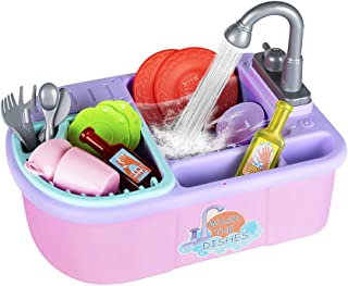 YAKASU Kitchen Sink Kids Toys - Portable Kitchenware and Cooking Accessories for Boys and Girls - Pretend and Role Play Games - Playset with Plates, Soap, Dish and Utensils, Gifts for Children (Pink)