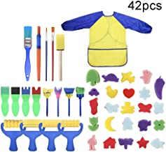 Uywgusag Toys & Games & Puzzle 42Pcs/Set Kids Sponge Paint Brush DIY Painting Rollers Apron Arts Crafts Tool - 42pcs