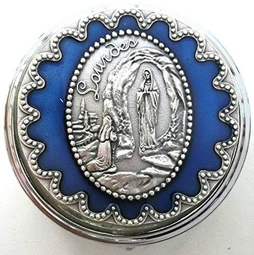 90.106.11041portarosario Virgen apparizione Lourdes Plata con placa esmaltada a mano Tamaño 6cm