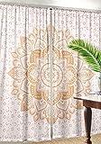 Grande Ombre Mandala dorado ventana cortina indio cortina de DRAPE hecha a mano