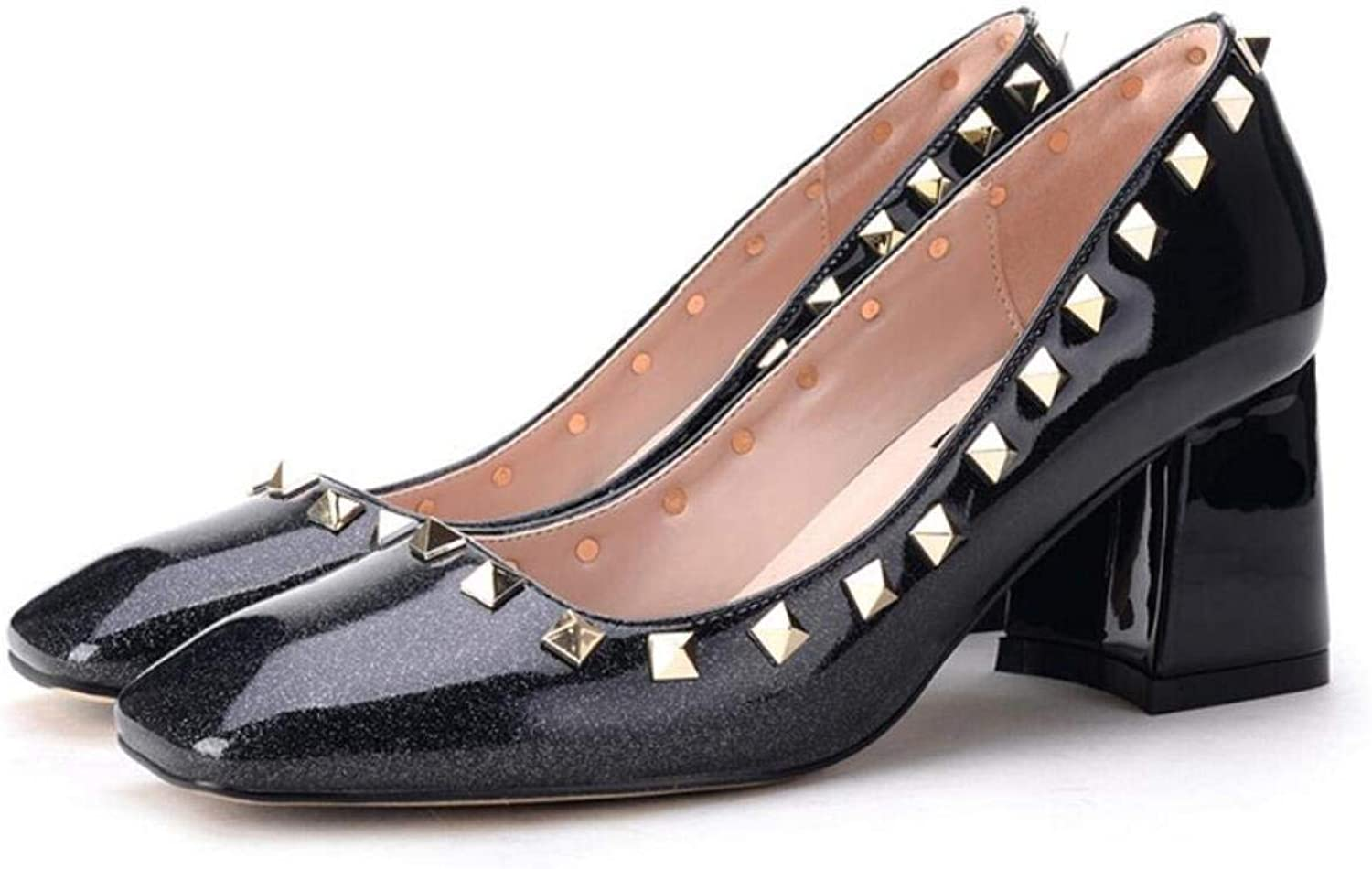 GouuoHi Womens Elegant Women High Heels New Rivets with The Square Head Shallow Mouth Casual Single Heel High Rivets Decoration Gradient color shoes