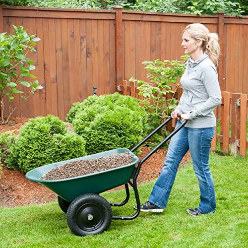 Marathon Yard Rover – 2 Tire Wheelbarrow Garden Cart - Green/Black