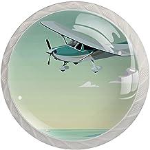 Glas Knoppen voor Dressoir Laden Vliegtuigen zee Witte Lade Knop Pull Handvat Kristal Glas Kast Trekt Knoppen Keuken Deur ...