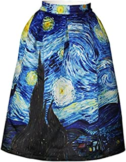 Van Gogh Starry Night Skater Skirt Quiet Nights Mini Skirt for Women Girl Blue L