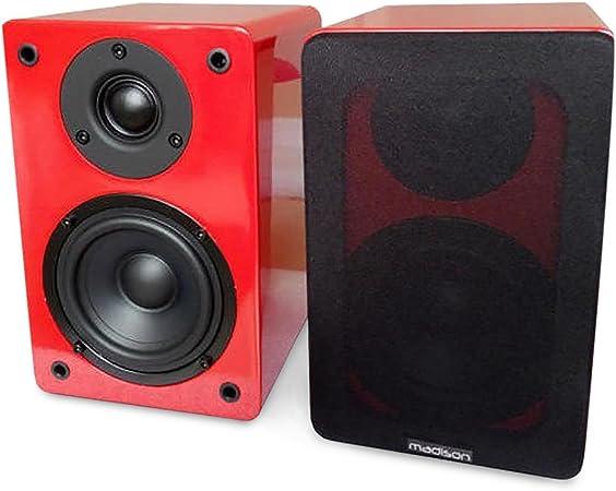 Madison BS4BL HiFi Altavoces pasivos de estantería HiFi de 2 vías (60W de potencia, home cinema, subwoofer y altavoz con tweeters) - rojo