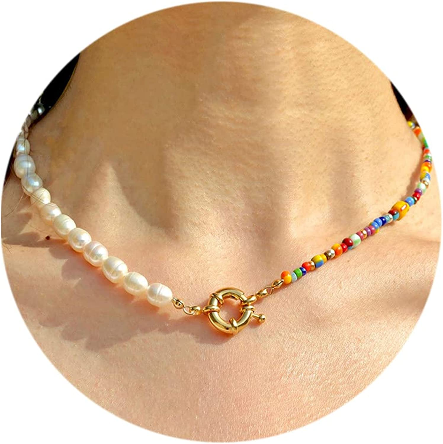 Bead Pearl Choker Necklace and Bracelet Set for Women Girls Handmade Colorful Seed Beaded Choker Bohemian Y2K Necklace for Women