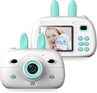 Kids Digital Video Camera Front and Rear Selfie 8MP Mini Rechargeable Children Camcorder, Shockproof Soft Cover 2 Flashlig...