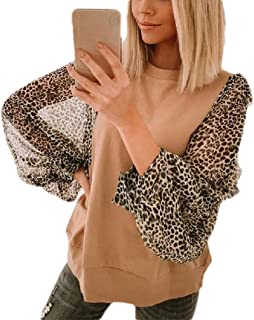 Coolred Women Contrast Blouse Long Sleeve Cotton Leopard Print T-Shirt