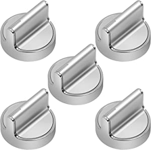 W10594481 Cooker Stove Control knob (5 Pack) by MYTWO - [Upgraded] Stainless Steel Range Burner Knob Compatible with Whirlpool WPW10594481, AP6023301, 3281332, W10594481, W10698166