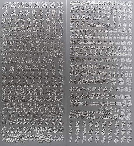 Sticker Buchstaben-Set, Silber - Groß- und Kleinbuchstaben mit Zahlen - 9699 - zum Beschriften von Kerzen