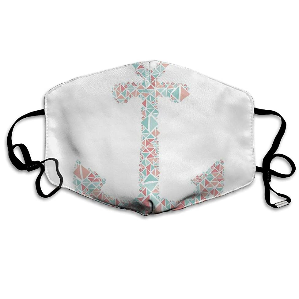 Whages Nautical Anchor Coral Teal Turquoise Geometric Pattern Washable Reusable Safety Breathable Mask, 4.3