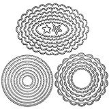 3 juegos de plantillas de corte de marco de metal para repujado, moldes de corte para hacer tarjetas, álbumes de recortes, decoración, círculo, ovalado