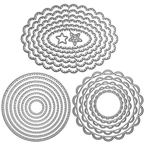 FineGood Stanzformen mit Metallrahmen, Prägeschablonen, für Bastelarbeiten, Scrapbooking, Alben, Dekoration, Blumen, Kreise, oval, 3 Sets