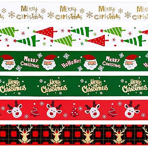 Whaline - 6 nastri natalizi assortiti, 3,7 m (6 x 0,9 m) in tessuto grosgrain satinato per fai da te, regali, decorazioni per feste di Natale, 25 mm di larghezza