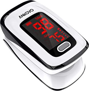 Pulse Oximeter Fingertip (Oximetro), ANKOVO Blood Oxygen Saturation Monitor, Heart Rate..