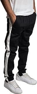 Men's Black White Striped Stretch Twill Jogger Pants