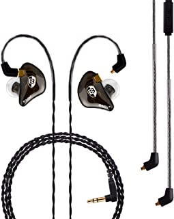 BASN Professional in-Ear Monitor Headphones for Singers Drummers Musicians with MMCX Connector Earphones (Pro ClearBrown)