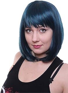 comprar comparacion Prettyland C1498 - lisa natural mate BOB peluca de pelo corto medio largo en tonos verde pavo real Negro Azul turquesa