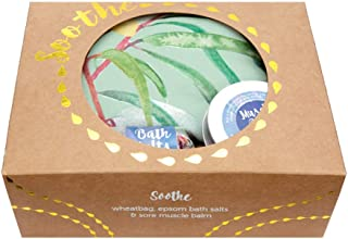 Soothe Gift Pack with Lavender Heat Pack in gumnut Print, Bath Salts and Muscle Balm by Wheatbags Love
