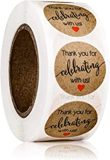 "1"" Round Thank You for Celebrating with Us Stickers Labels Kraft Paper with Red Hearts,Decorative Stickers for Wedding, Pa..."